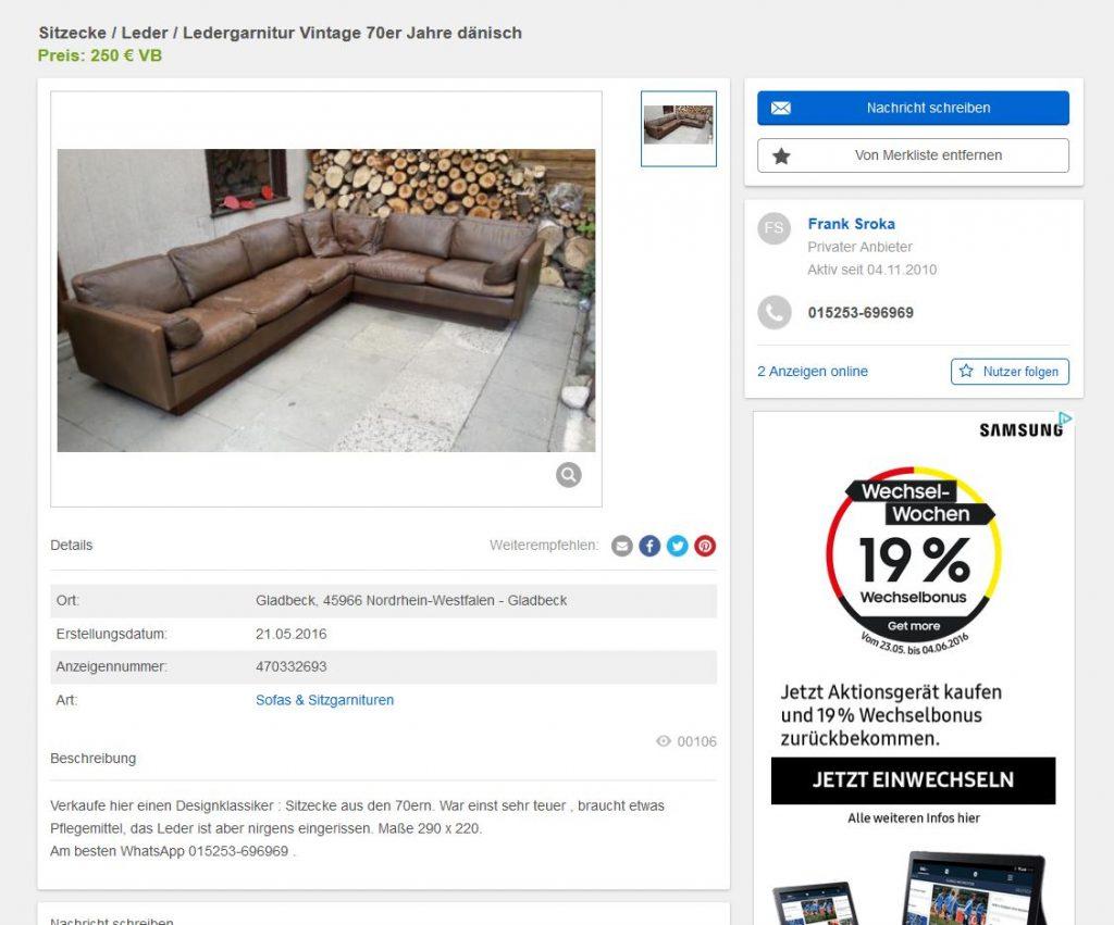 erik jorgensen ledersofa f r thams vintage danish design. Black Bedroom Furniture Sets. Home Design Ideas