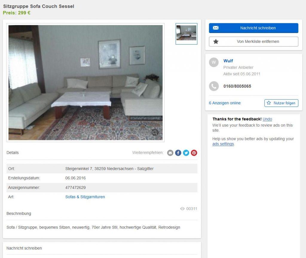 F w m ller f r cor conseta sofa auf kufen couchgarnitur for Sofa 60er gebraucht