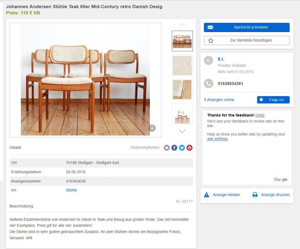 4 danish design st hle johannes andersen f r uldum teak. Black Bedroom Furniture Sets. Home Design Ideas