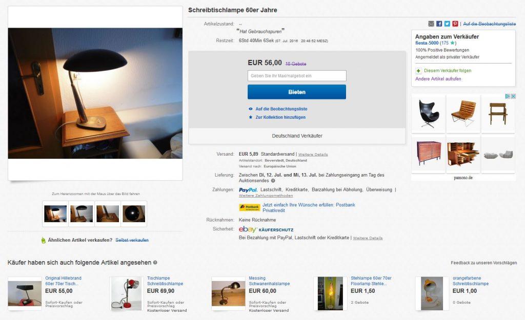 Christian Dell Kaiser Idell 6770 Tischlampe Leuchte 50er Design Vintage gebraucht kaufen