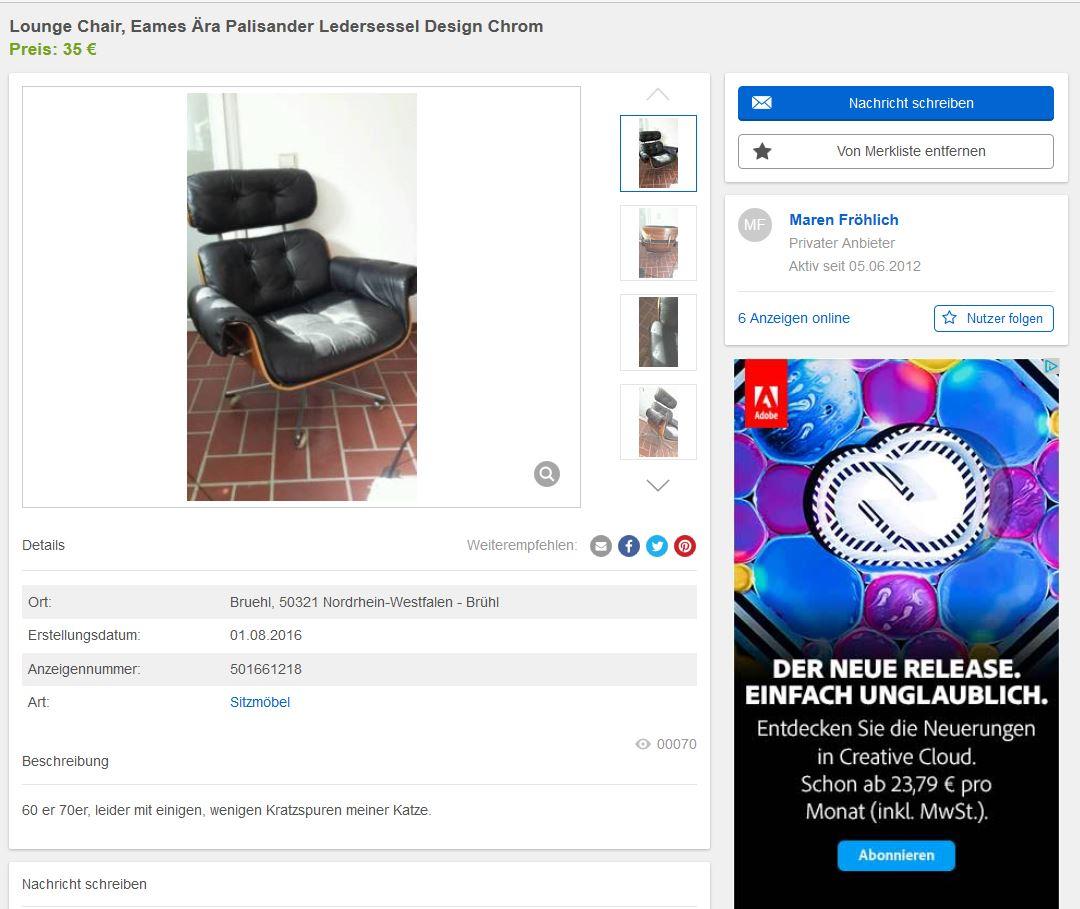 lounge chair im charles eames stil 60er 70er ledersessel ebay kleinanzeigen mit stil ebay. Black Bedroom Furniture Sets. Home Design Ideas