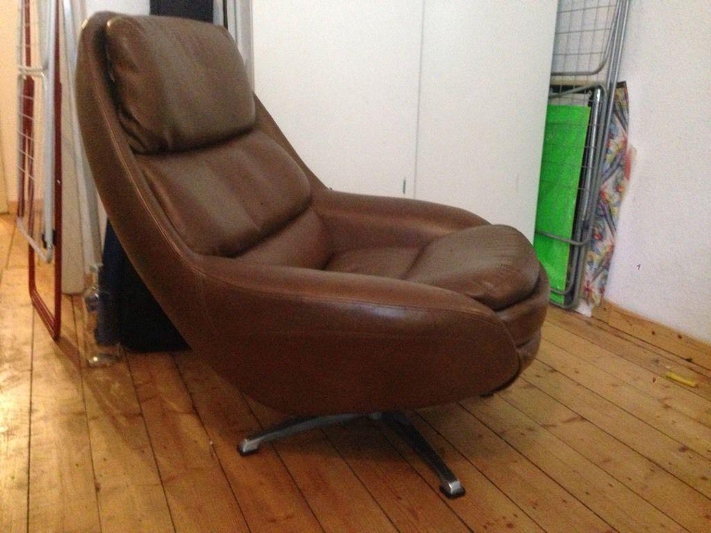 Egg Chair Vintage Ledersessel 70er Jahre Retro Design Midcentury Modern Sessel Günstig Gebraucht