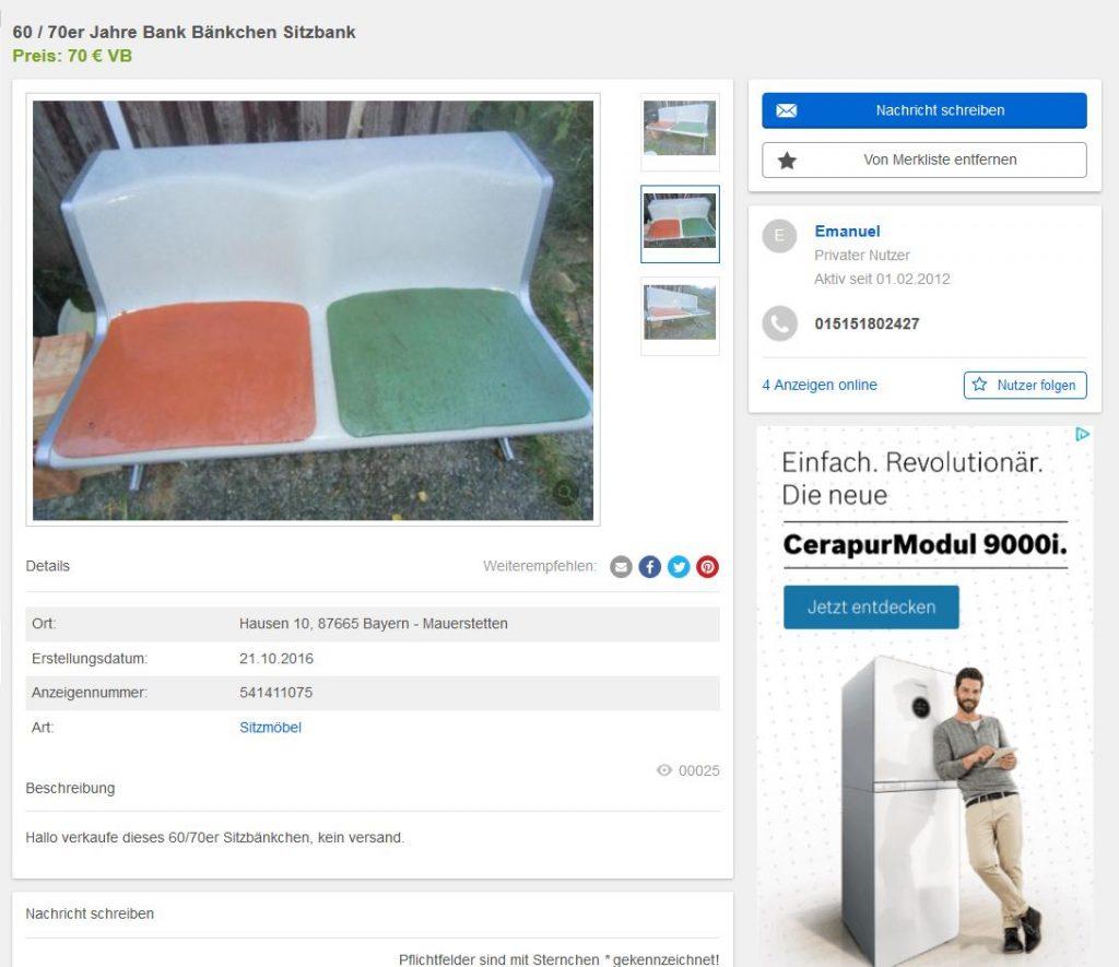 Friso Kramer Bank Wilkhahn 120/2 Vintage Design 60er Jahre 60s Möbel gebraucht kaufen günstig