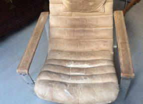 Ilmari Lappalainen Lounge Chair mit Ottomane Asko Vintage Ledersessel