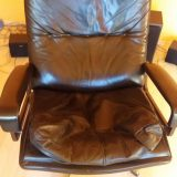 André Vandenbeuck Strässle King Chair Lounge Ledersessel und Ottomane 70er Design