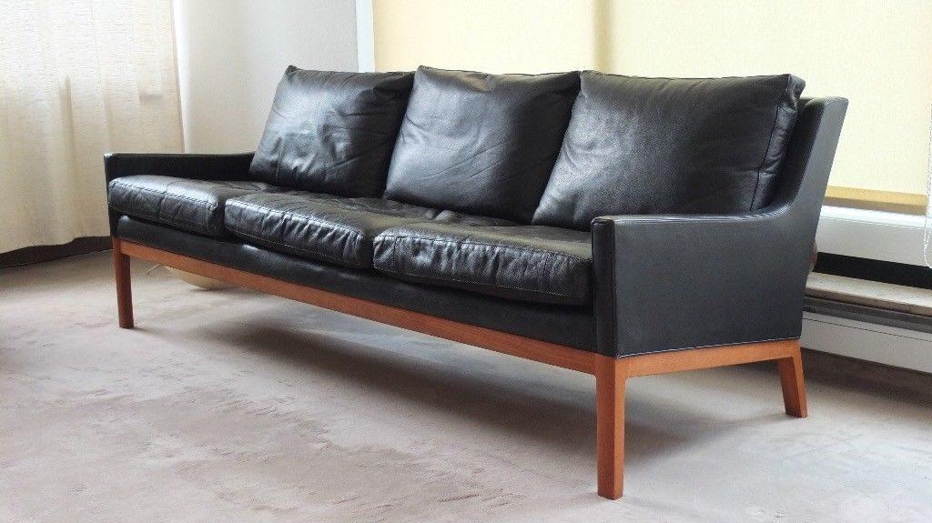 Midcentury Modern Ledersofa Danish Design Teak schwarz Vintage Designklassiker