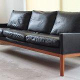 Danish Design Ledersofa schwarzes Leder Teak 60er Midcentury Modern