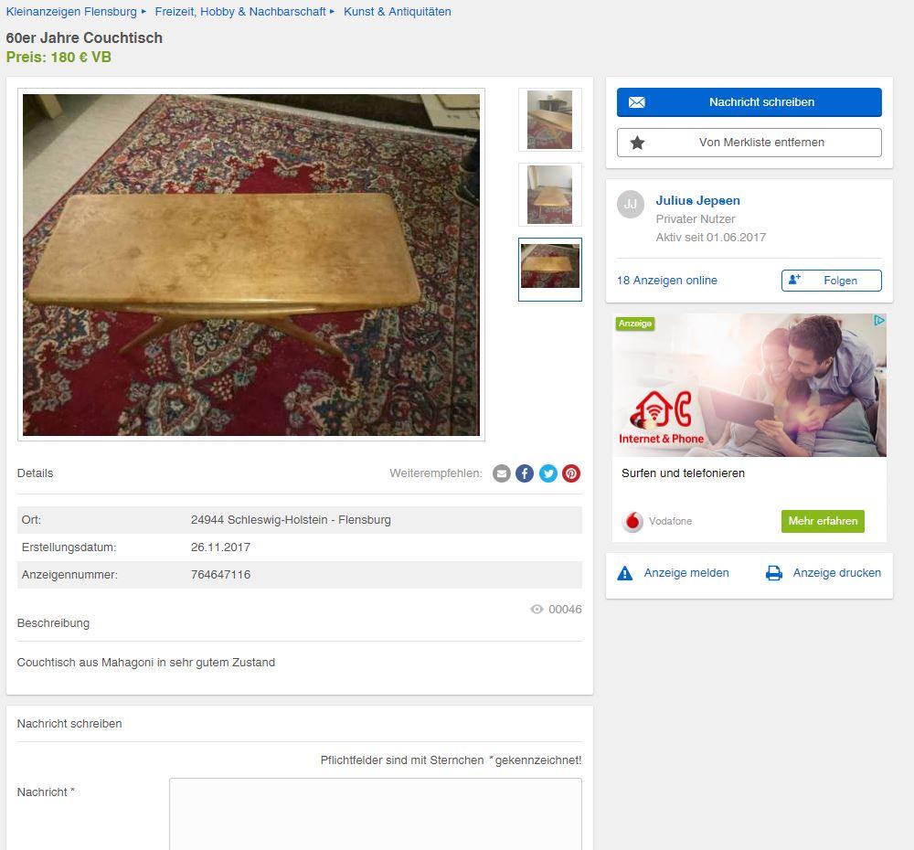 johannes andersen smile coffee table cfc silkeborg danish design ebay kleinanzeigen mit stil. Black Bedroom Furniture Sets. Home Design Ideas